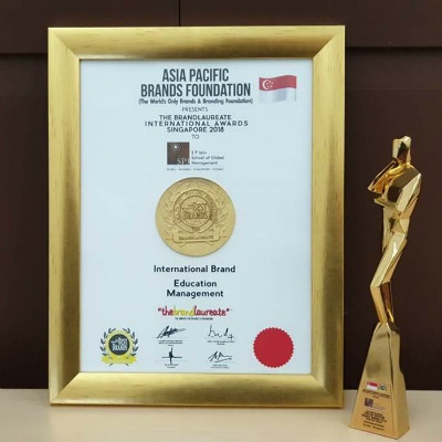Certificate and trophy for the Best International Brand in Education Management from The BrandLaureate Special Edition World Awards 2018