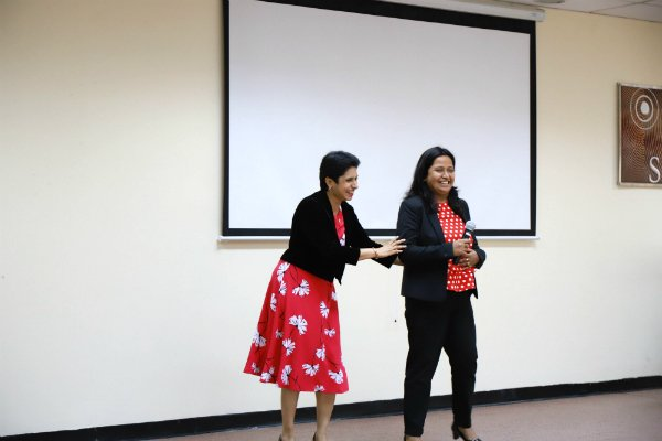 Area Director TM Saro Tharyaan introduced Parmita Debnath, Founder President of SP Jain Toastmasters Club