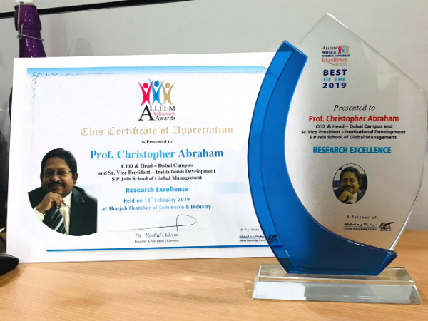 Prof. Christopher Abraham awarded for 'Research Excellence'