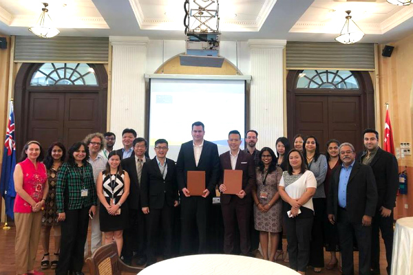 Staff and faculty of SP Jain with Mr. Matej Michalko, CEO & Founder of DECENT (centre), at the MoU signing ceremony held at SP Jain's Singapore campus